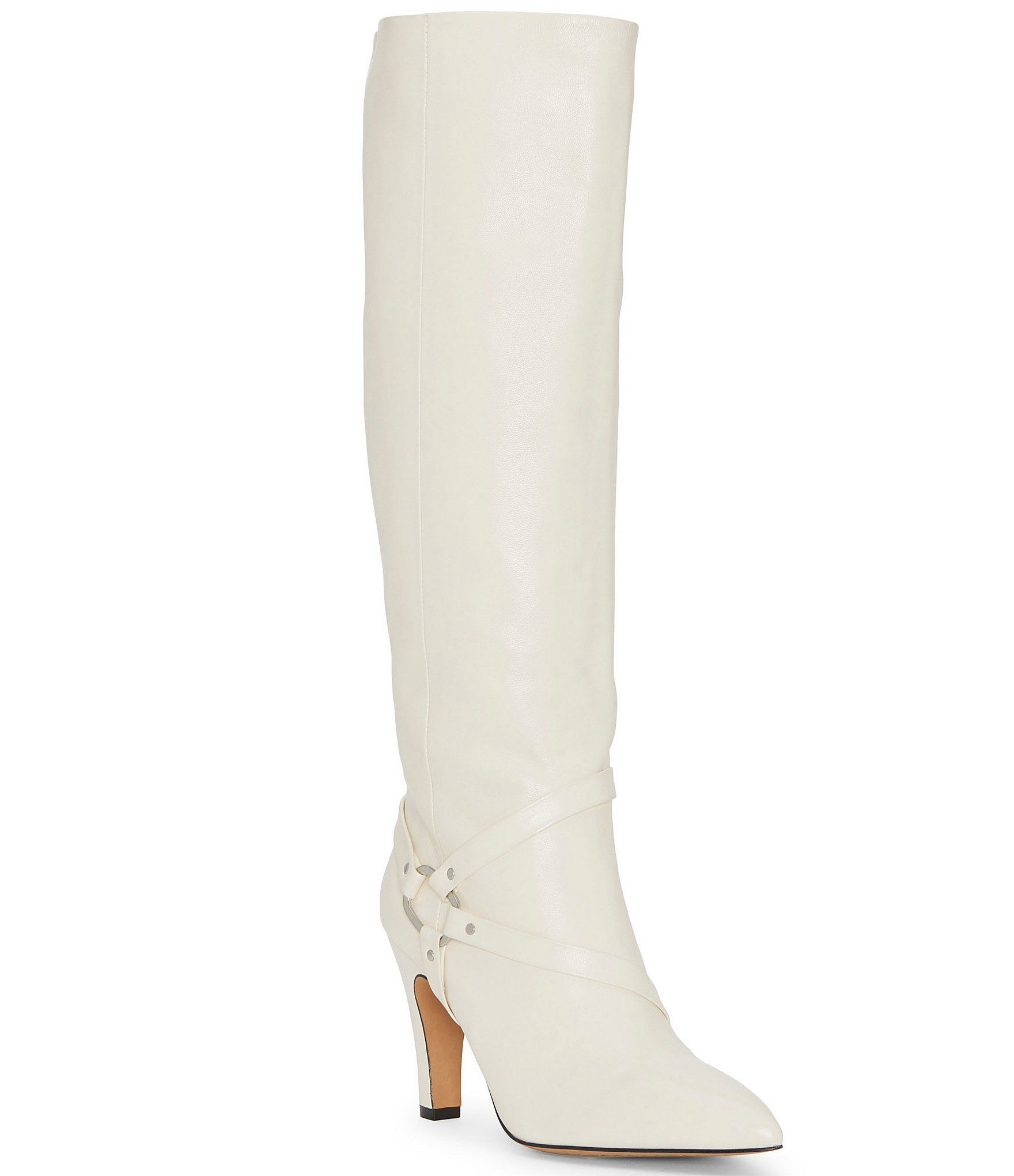 Vince Camuto Charmina Leather Stovepipe Dress Harness Boots – Off White 8.5M