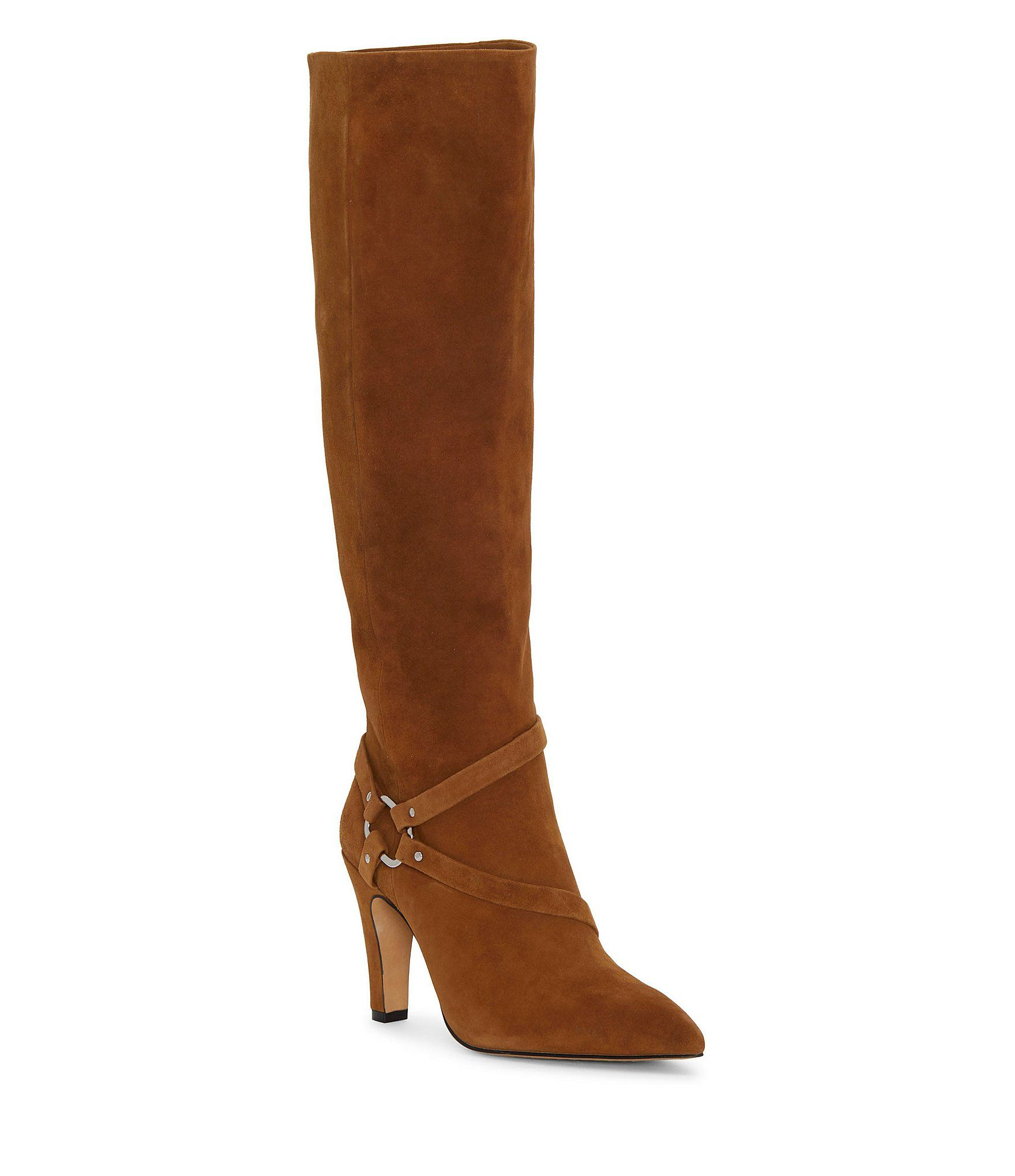 Vince Camuto Charmina Suede Stiletto Stovepipe Dress Harness Boots – Brown 9.5M