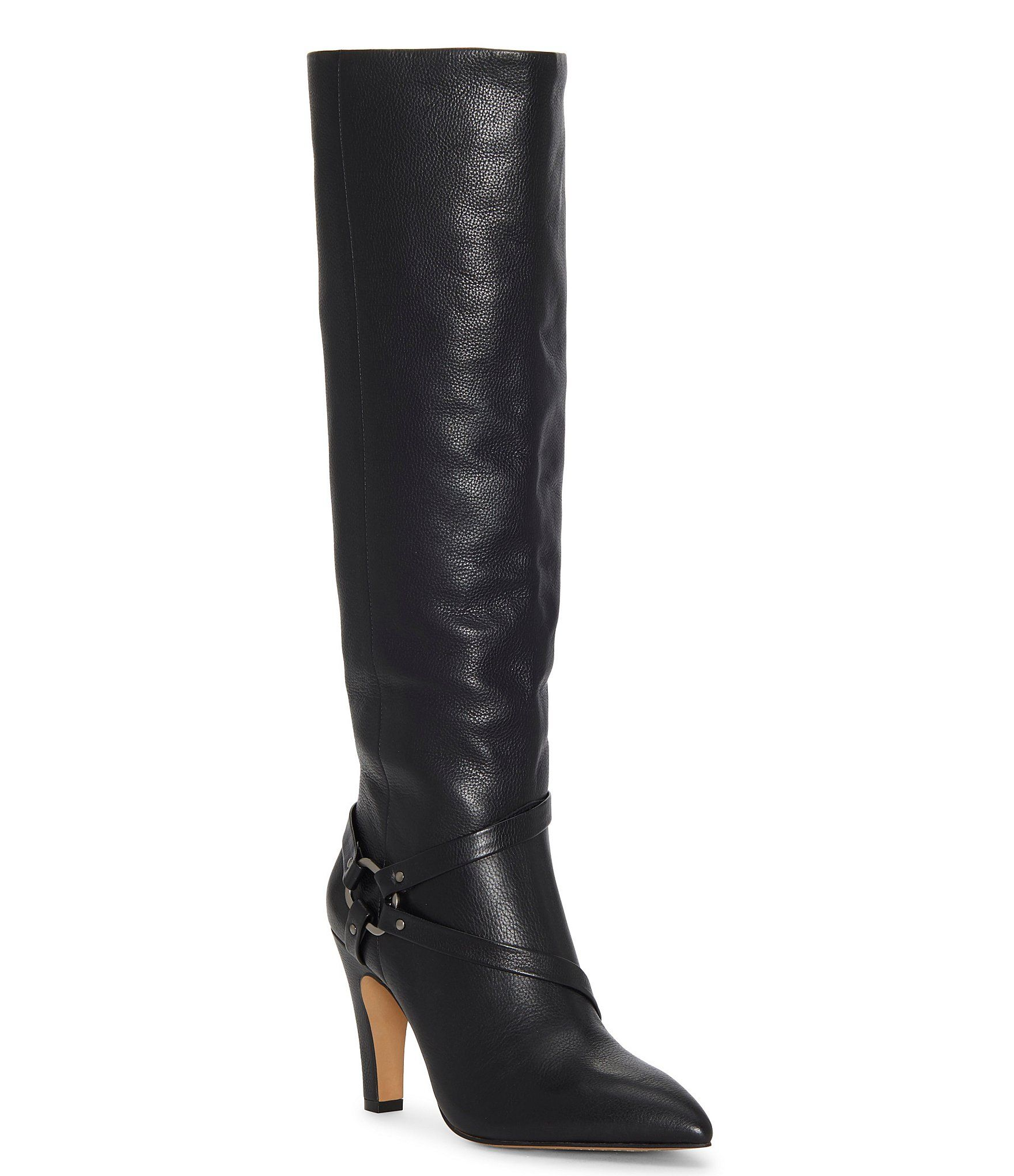 Vince Camuto Charmina2 Leather Harness Tall Stiletto Pointed Toe Dress Boots – Black 7M