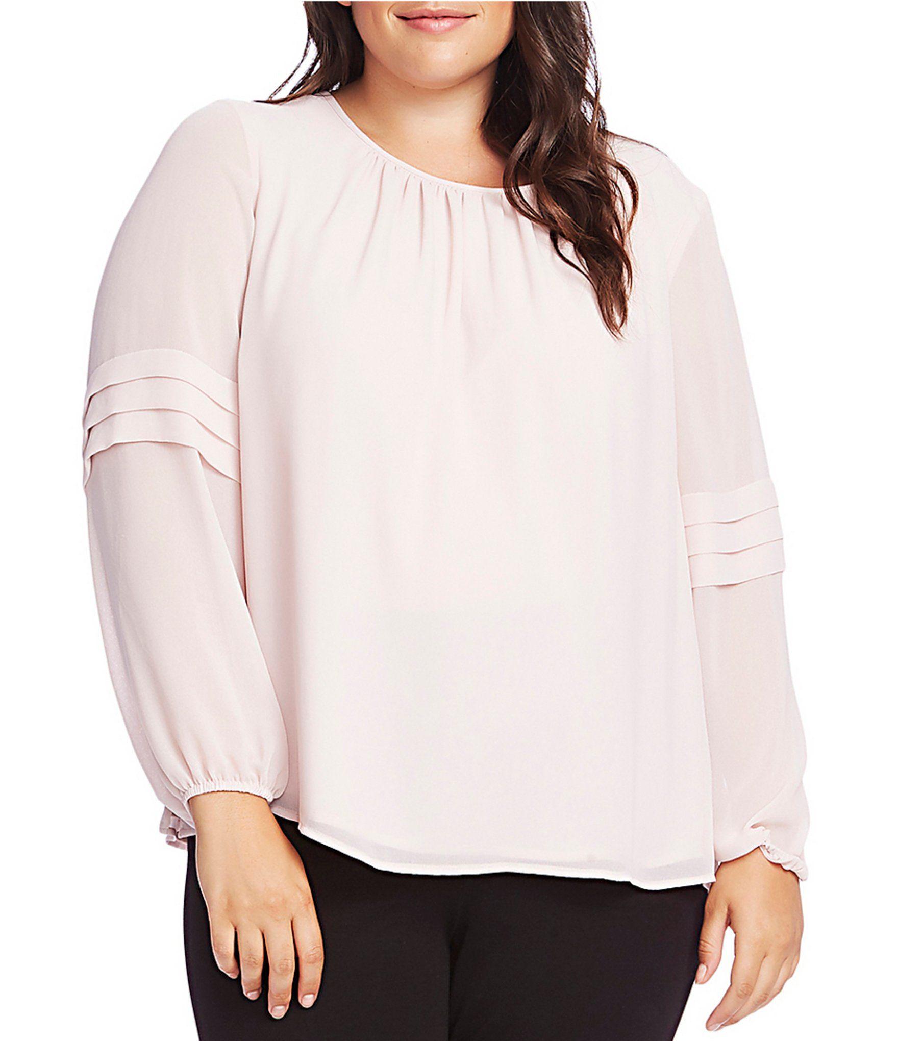 Vince Camuto Plus Size Tiered Ruffle Long Sleeve Chiffon Blouse – Soft Pink 1X