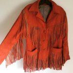 Vintage 70s Orange Suede Fringe Jacket Boho Festival Gypsy Style Western Biker B...