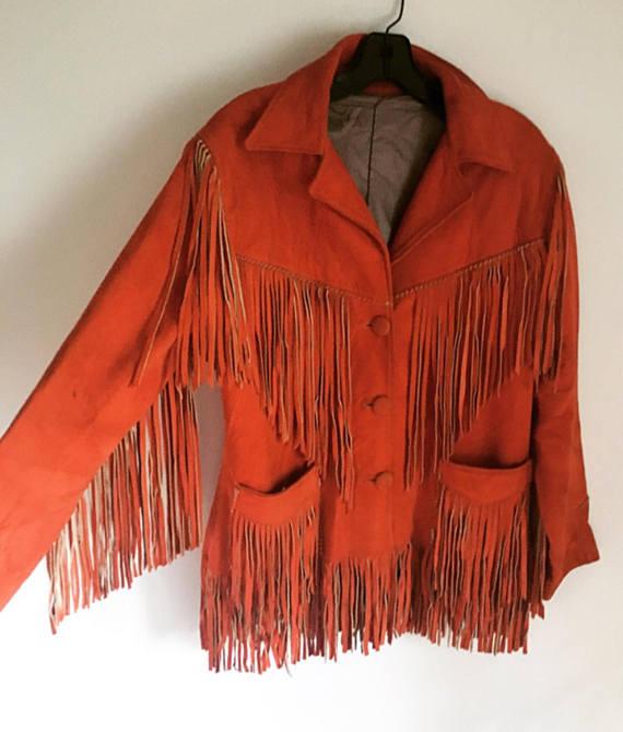 Vintage 70s Orange Suede Fringe Jacket Boho Festival Gypsy Style Western Biker B…