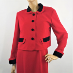 Vintage 80s David Warren Red Jacket and Dress Suit Business Women Little Red Dress