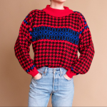 Vintage 80s houndstooth turtleneck boxy sweater Vintage 80s red + blue houndstoo...