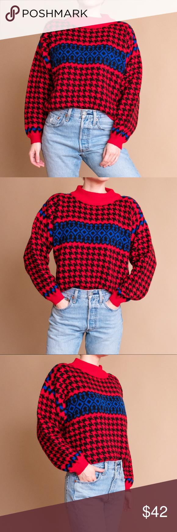 Vintage 80s houndstooth turtleneck boxy sweater Vintage 80s red + blue houndstoo…