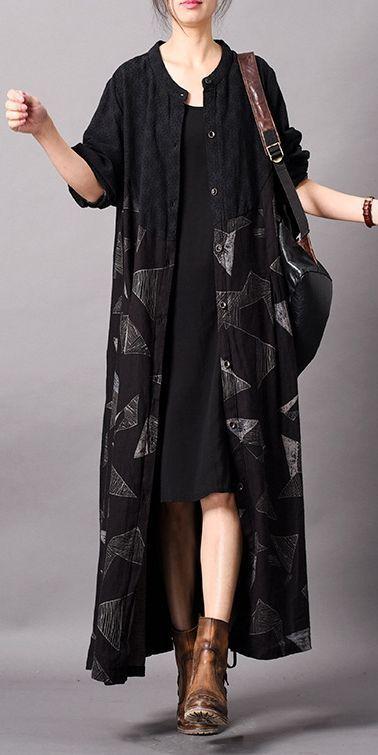 Vintage Black Cotton Linen Long Wind Coat Women Spring Jacket C29011