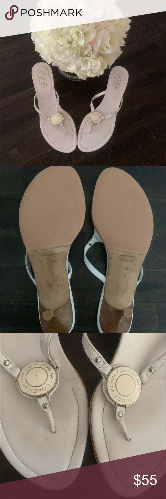 Vintage Coach kitten heel leather white sandals 10 Genuine Vintage Coach leather…
