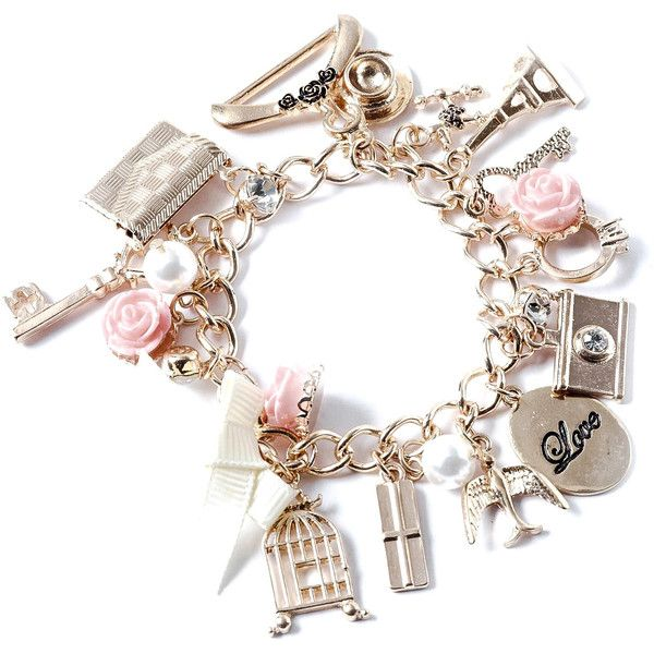 Vintage Gold Charm Bracelet (12.610 CLP) ❤ liked on Polyvore featuring jewelry…