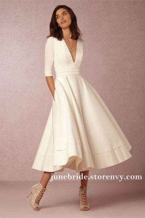 Vintage Ivory Tea Length Wedding Dress,Short Wedding Dress,Half Sleeve V Neck Bridal Gowns Cheap