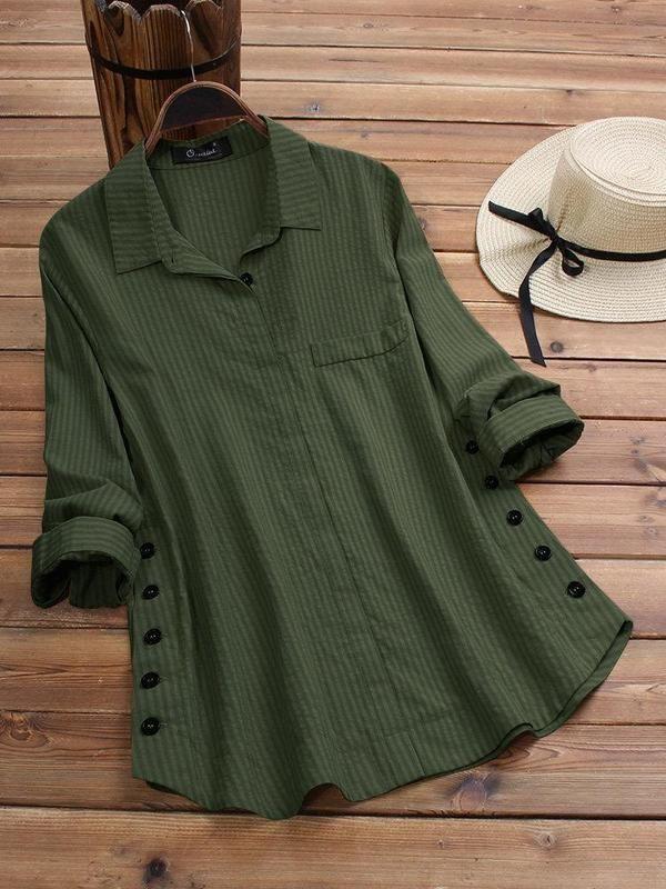 Vintage Lapel Button Long Sleeve Plus Size Shirt