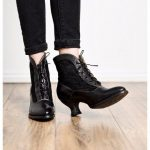 Vintage Style Victorian Lace Up Leather Boots in Black Rustic