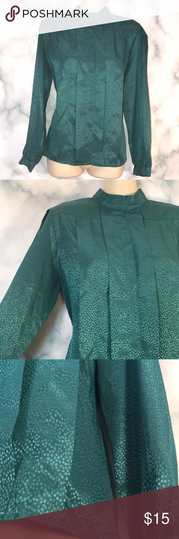 Vintage Suburban petites emerald green blouse 8 Vintage suburban petites green E…