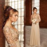 Vintage gold Long sleeves lace chiffon evening dress with Beads pearls V neck A line party prom dress mother of bride dresses