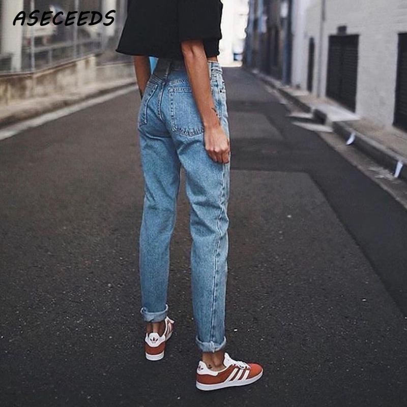 Vintage ladies jeans for women mom high waist jeans blue casual pencil denim trousers