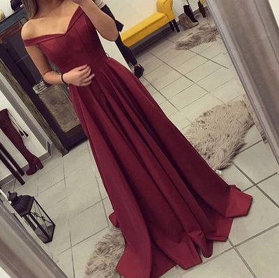 W472 Burgundy Prom Dress, Off The Shoulder Prom Dress, Simple Party Dress Long, Elegant Evening Gown, Long Prom Dresses, A Line Prom Gown from WonderfulGowns
