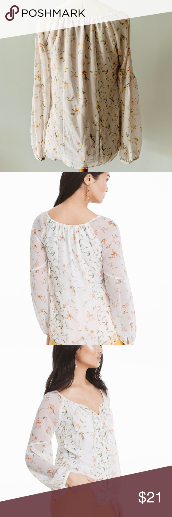 WHBM FLORAL BLOUSE One of the easiest ways to pull off the season's big floral…