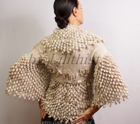 Wedding Shrug Bolero, Bridal Shrug, Bolero Jacket Champagne, Crochet Shrug, Bridal Shawl Wrap, Bolero Cover Up, Shrug Knitted, Cape, Unique