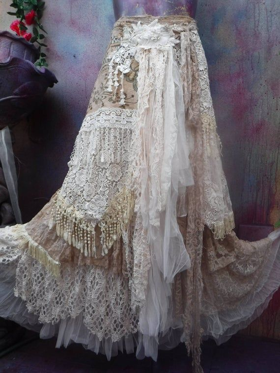 Wedding, bridal,tattered skirt, boho, fantasy, stevie nicks, bohemian skirt, gypsy skirt, woodland, lace skirt, bellydance,s, m