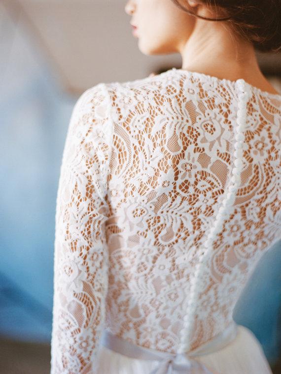 Wedding dress ORION // Long sleeve lace wedding dress, boho wedding dress, bridal gown, simple modest wedding, winter wedding gown, milamira