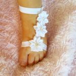 White Baby Barefoot Sandals- Baby Gladiator shoes- Barefoot Sandals- Baby Shoes-...