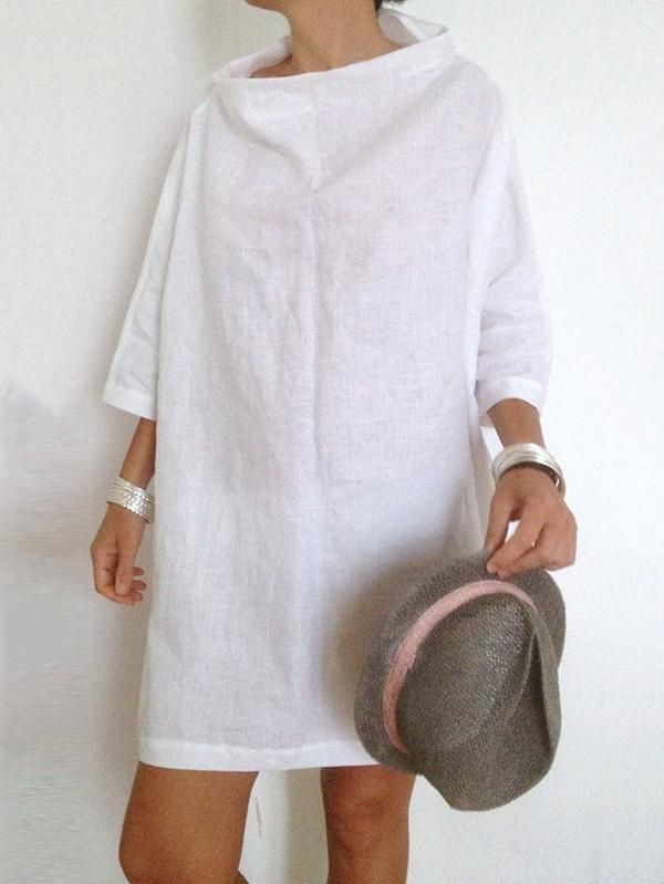 White Batwing Sleeves High-neck Short Dress