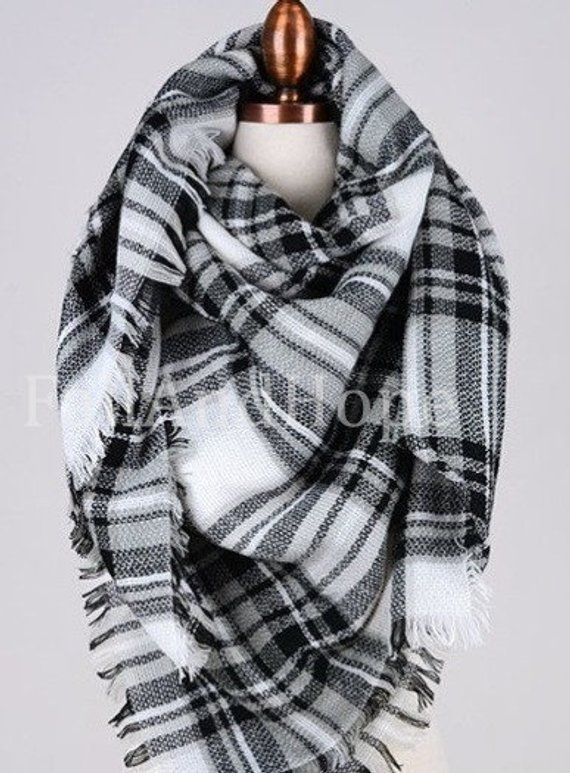 White Black Blanket Scarf, blanket scarf plaid, blanket scarf wool, winter scarf, scarf women, scarv