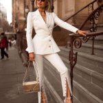 White Button Leg Capri Pants