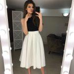 White Cotton Pleated skirt Summer Woman Midi skirt