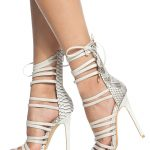 White Faux Snake Skin Multi Strap Single Sole Heels @ Cicihot Heel Shoes online ...