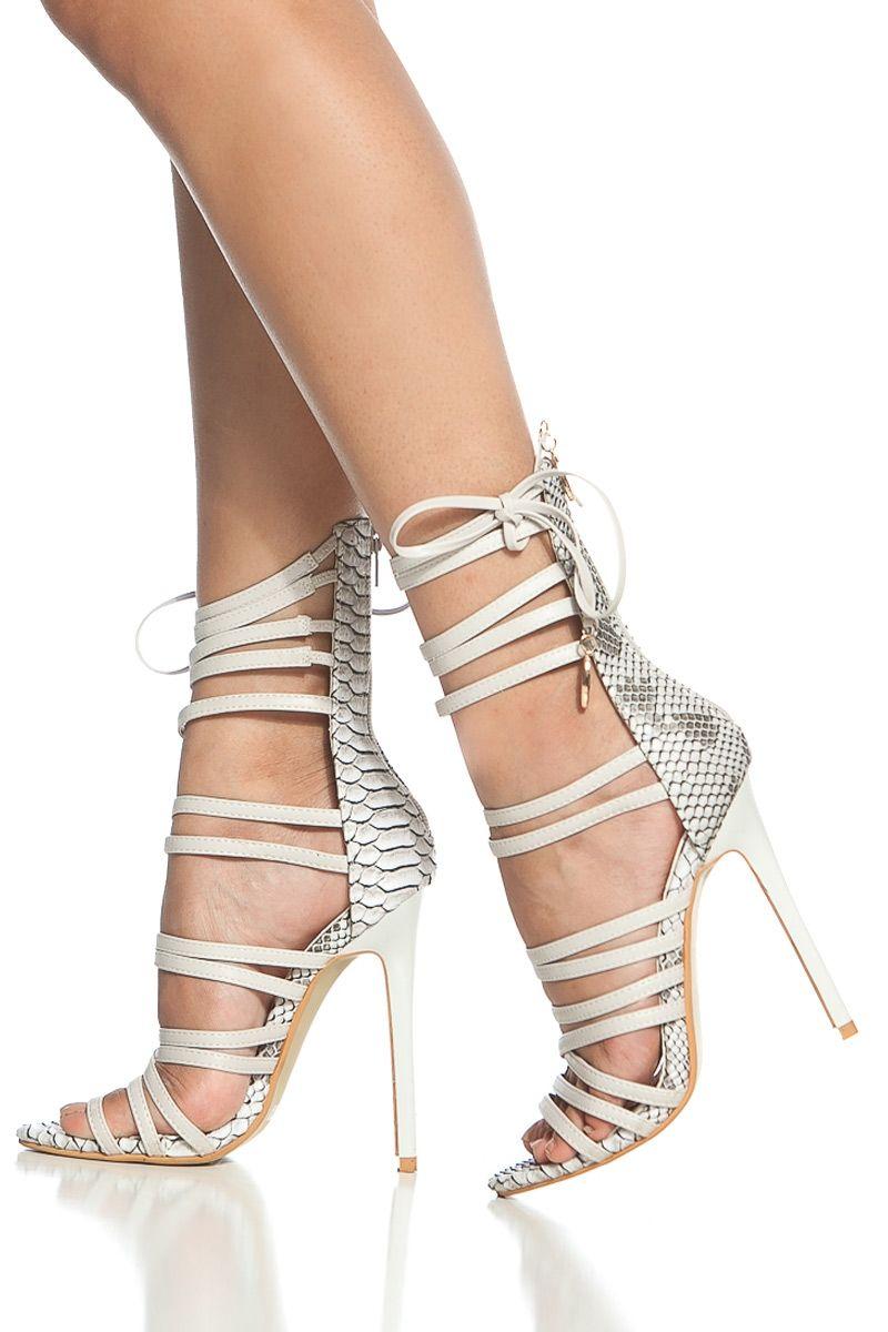 White Faux Snake Skin Multi Strap Single Sole Heels @ Cicihot Heel Shoes online …