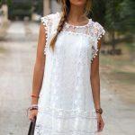 White Fringe Trim Crochet Lace Casual Dress