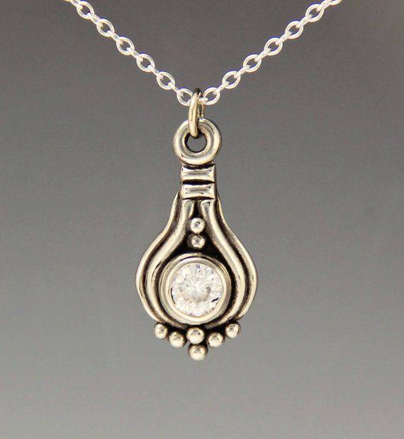 White Gold Moissanite Pendant/ Moissanite Necklace/ Diamond Alternative/ Handmade One of a Kind/ Diamond Pendant Necklace/ Gift for Her