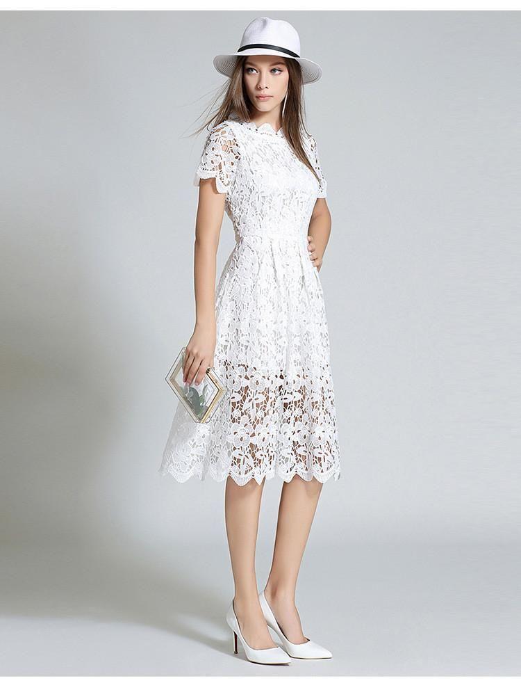 White Lace Midi Dress – Lily & Co.