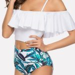 White Leaf Ruffles Off Shoulder High Waist Sexy Bikini #057449 @ Cheap Two Piece...