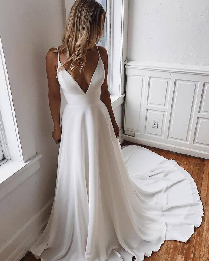 White Prom Dresses V-Neck Evening Dress A-Line Formal Gowns Cheap Prom Gowns S2280