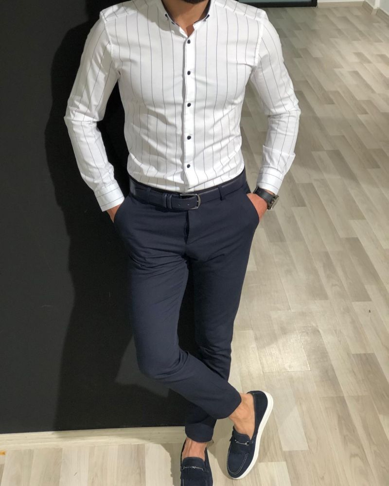 White Slim-Fit Striped Shirt, Navy Blue Slim Cotton Pants, and Navy Kilt Espadrille Loafer