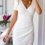 White V Neck Wrap Front Asymmetric Bodycon Dress