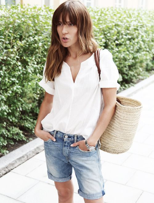 White blouse, bermuda shorts, and sandals