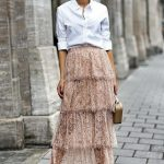 White button up + lace skirt