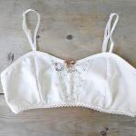 White organic cotton bra, vintage style bralette, organic underwear, cotton lace...