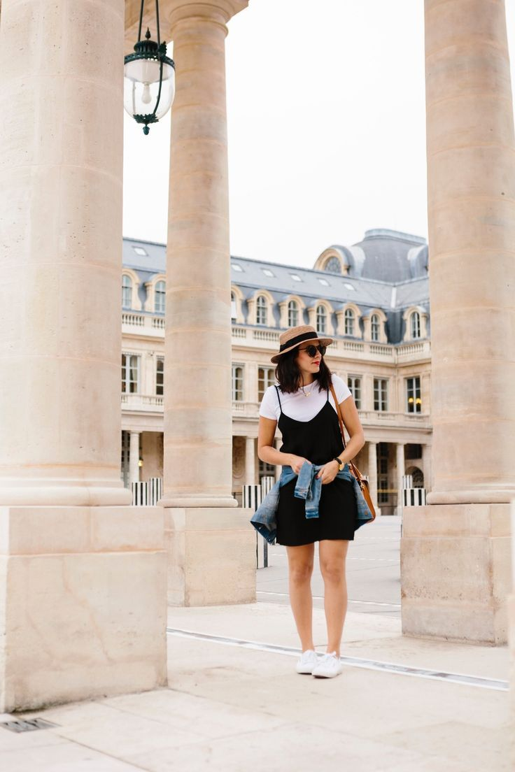 White tee and black slip dress outfit
