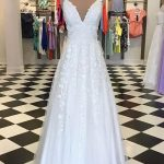 White tulle V neck long lace appliques A-line prom dress, formal dress