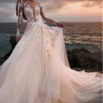 White wedding dress lace applique wedding dress v neck wedding dress long sleeves wedding dress