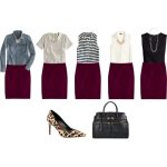Wine colored pencil skirt outfit ideas