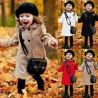 Winter Autumn Baby Girl Warm Coat Wool Jacket Turn Down Collor Cute Trendy Jacket Child Kids Clothing Outfits Long Button Coat | Wish
