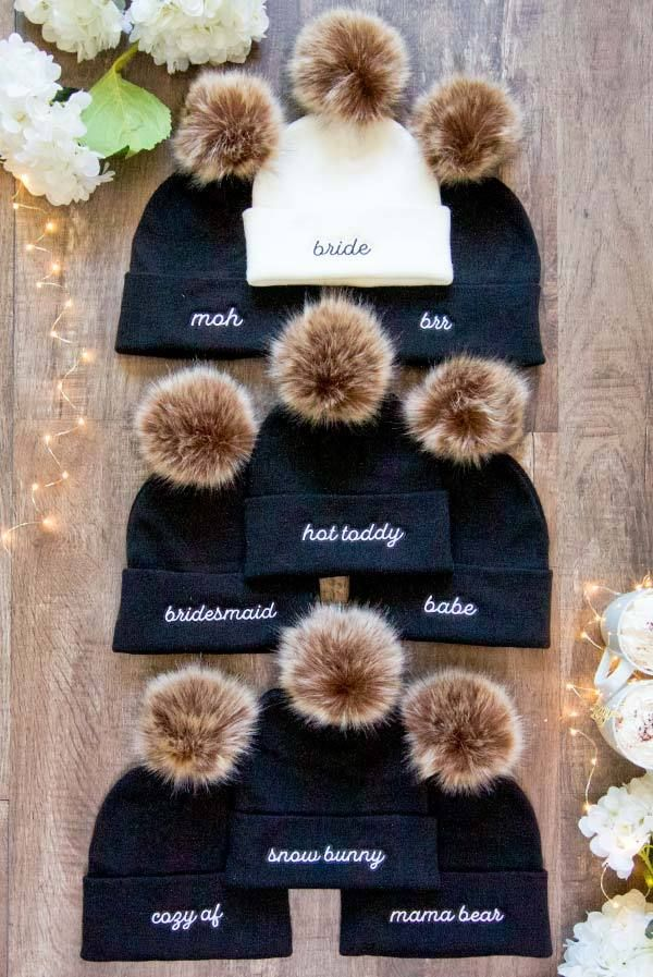 Winter Bachelorette Pom-Pom Beanies | Bride and Bridesmaid and More!