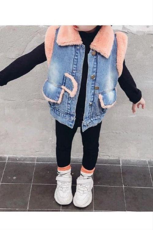 Winter Toddler Girls Fleece-lined Denim Vest