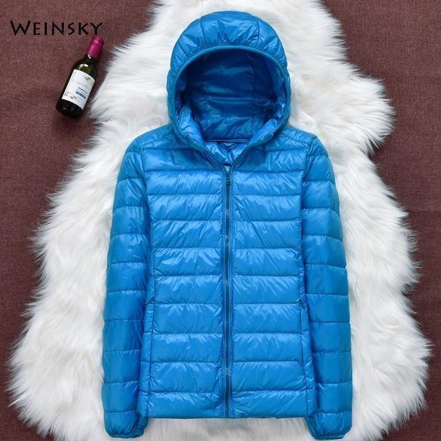 Winter Women Ultralight Thin Down Jacket White Duck Down Hooded Jackets Long Sleeve Warm Coat Parka Female Portable Outwear – Khaki 5XL