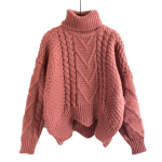 Winter loose sweater women pullover short bat sleeves lazy wind thick wool coat sweaters pull femme pullovers Pink from Parisienne