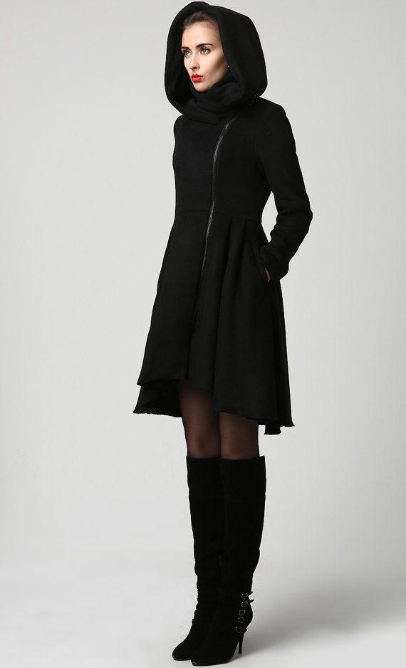 Winterjas, wollen jas, zwarte wollen jas, vrouw jas, womens jas, warme winterjas, MIDI jas, Made to order, wollen jas met capuchon 1121 #